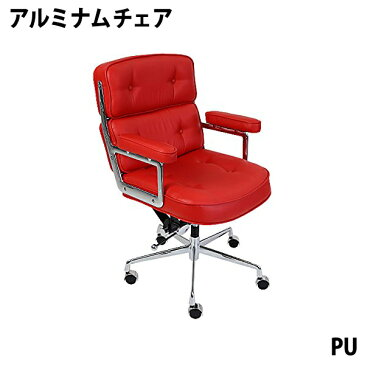 送料無料 新品 イームズアルミナムチェア タイムライフチェア エグゼクティブチェア PU レッド キャスター 肘掛け クロムメッキ クロームメッキ 回転 昇降 高さ調節 ポリウレタン オフィスチェア ロッキングチェア ミーティングチェア 椅子 いす イス チェアー 赤 8298pured