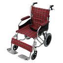 送料無料 車椅子 アルミ合金製 レッドチェック 約10kg TAISコード取得済 背折れ 軽量 折り畳み 介助用 介助ブレーキ付き 携帯バッグ付き ノーパンクタ