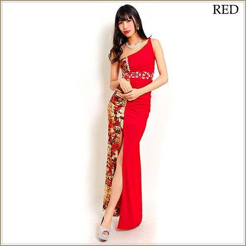 大胆スリット&金箔和風花柄マーメイドロングドレス