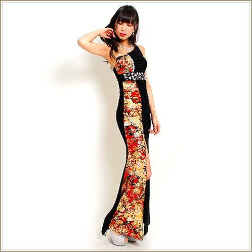 大胆スリット&金箔和風花柄ロングドレス