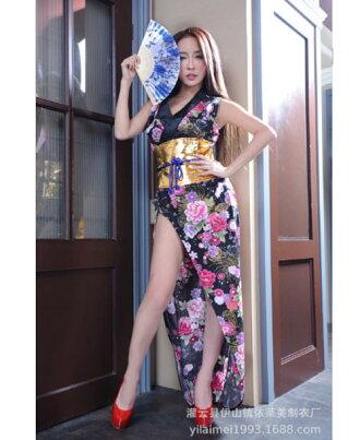 着物ドレス和柄ドレスナイトドレス「ゴールド帯&大胆スリット使いサテン素材セクシー着物ドレス」和柄、よさこい、おいらん、着物キャバ花魁コスプレ