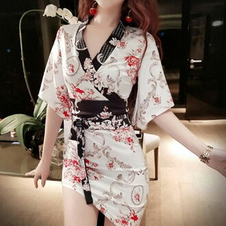 サテン素材和柄、斜めアシメカット&セクシー花魁着物ドレス「和柄、よさこい、おいらん、着物キャバ花魁コスプレ」