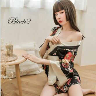 サテン素材セクシー花魁&リボン帯付き着物ドレス「和柄、よさこい、おいらん、着物キャバ花魁コスプレ」