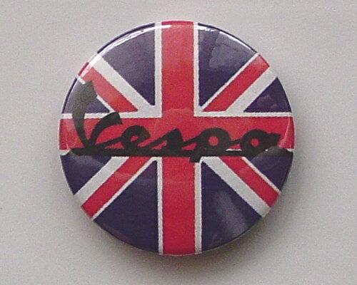 ◆Vespa Union Jack◆べスパ☆ロゴ 缶バッジ◆London ストリート マーケットから直輸入♪