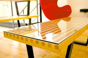 【W122cm】プラットフォームベンチ(ネルソンベンチ)メープル材6mm厚ガラス天板セット