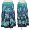 【SALE】ヒロコ ビスHIROKO BIS ドット花柄モチーフプリントグラデーションスカート 青ターコイズ9