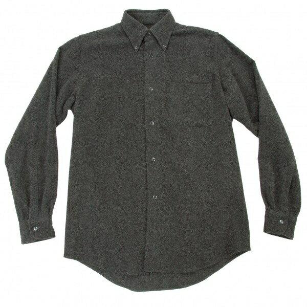【SALE】エルメスHERMES ボタンダウンウールシャツ チャコールグレー37 14 1/2【中古】:PLAYFUL