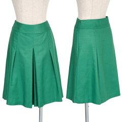 ユナイテッドアローズUNITED ARROWS ボックスプリーツ台形スカート 緑38