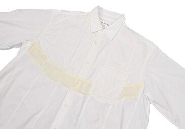 【SALE】コムデギャルソンシャツCOMME des GARCONS SHIRT ニット切替コットンシャツ 白生成りS【中古】