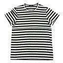 【SALE】トリコ コムデギャルソンtricot COMME des GARCONS ラメボーダー半袖Tシャツ 黒シルバーS位【レディース】