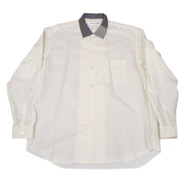 コムデギャルソンシャツCOMME des GARCONS SHIRT カラーネックデザインシャツ クリームグレー青M【中古】