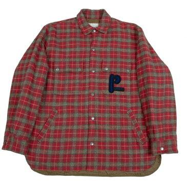 パパスプラスPapas+ 起毛コットン中綿チェックシャツジャケット 赤カーキ他LL【中古】