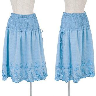 isseimiyakemi ISSEY MIYAKE me花刺綉品比賽裙子淡藍色M