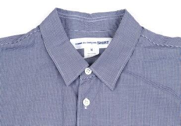 コムデギャルソンシャツCOMME des GARCONS SHIRT 切替チェックシャツ 紺白黒インディゴM【中古】