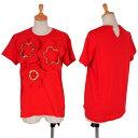 トリコ コムデギャルソンtricot COMME des GARCONS 製品洗い装飾切替デザインTシャツ 赤M位【中古】 【レディース】