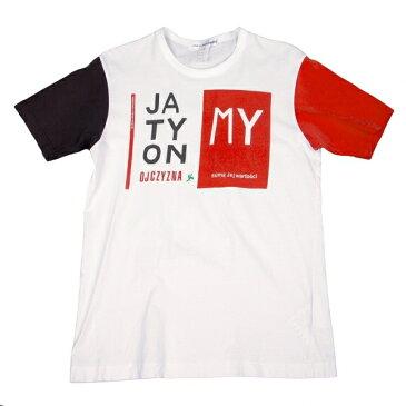 コムデギャルソンシャツCOMME des GARCONS SHIRT クレイジー切替プリントTシャツ 白黒朱L【中古】