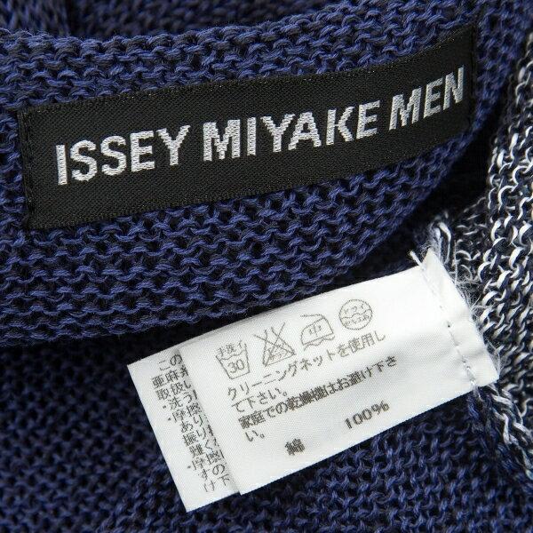 イッセイミヤケ メンISSEY MIYAKE MEN カラフルスプレーリネン風コットンニット 青系2 【メンズ】