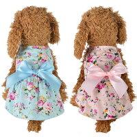 ドッグウェア犬ワンピース春夏春花柄可愛い超小型犬小型犬ピンクブルー水色かわいい犬服ペット服SMLXLXXLチワワダックスフンドトイプードルパグ豆柴マルチーズシュナウザープードルフレンチブル安いプチプラカワイイリボン女の子