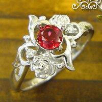 レディッシュサファイアリングK18薔薇ダイヤモンド付送料無料ロマンティックローズ指輪/プラチナ変更可能