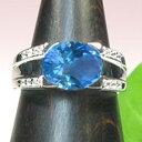 11月誕生石 ブルートパーズ シンプル ダイヤモンド付リングプラチナ900・ブルートパーズリング...