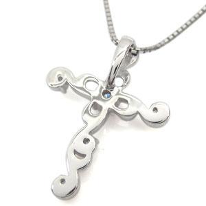 プラチナ・クロスネックレス・メンズ・誕生石・十字架