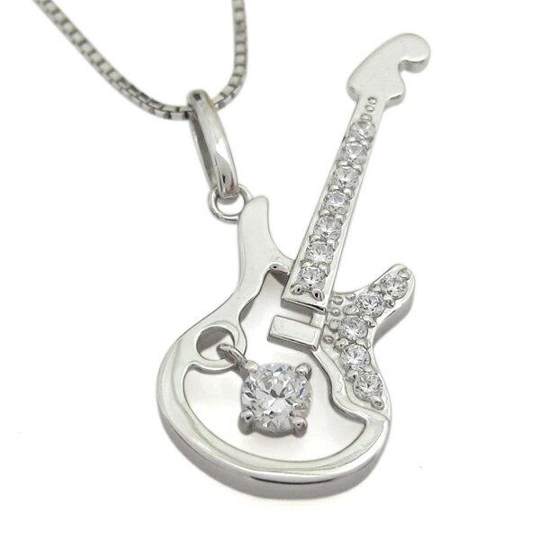 プラチナ ダイヤモンドネックレス ギター メンズ ストラトキャスター