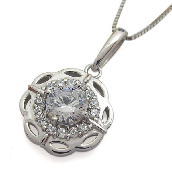 ダイヤモンド アンティークネックレス  ゴージャス 取り巻き クラシカル 10金