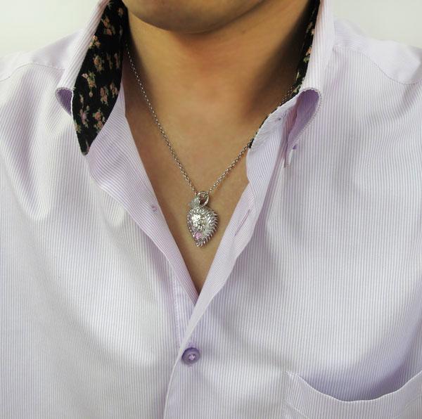 ライオンネックレス ピンクトルマリン 10月誕生石 メンズ ペンダント プラチナ