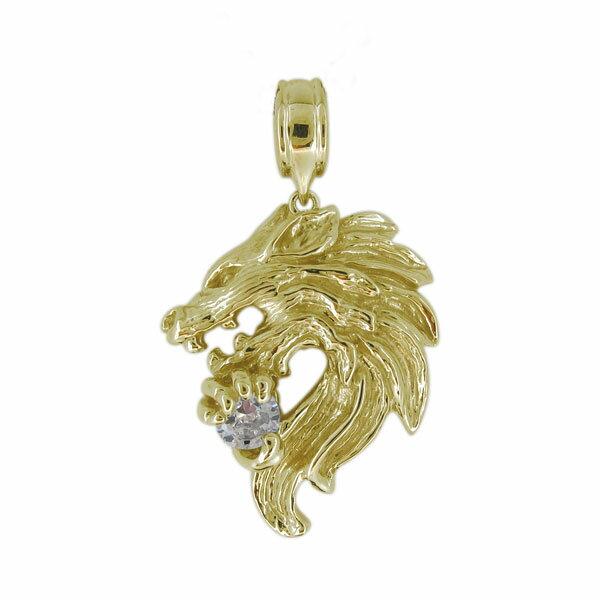 18金 メンズ オオカミ ペンダントトップ 狼 ウルフ 天然石 ダイヤモンド