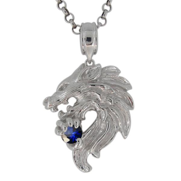 プラチナ ネックレス メンズ サファイア 9月誕生石 狼モチーフ オオカミ