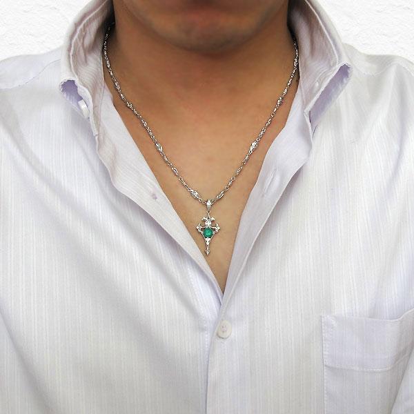 メンズ シルバー ネックレス クロス 天然石 エメラルド ペンダント 百合の紋章