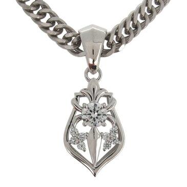ネックレス メンズ シルバー 喜平チェーン 百合の紋章 ダイヤモンド ペンダント