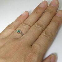 一粒・エメラルド・リング・10金・指輪・シンプル・リング