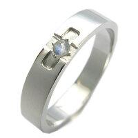 プラチナ・ロイヤルブルームーンストーン・リング・クロスリング・結婚指輪