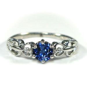 サファイア リング K10 婚約指輪 一粒 ハート エンゲージリング