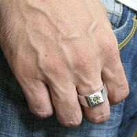 ペリドット・地金・メンズリング・18金・印台・リング・メンズ・指輪