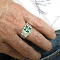 メンズリング・エメラルド・リング・印台リング・k18・指輪