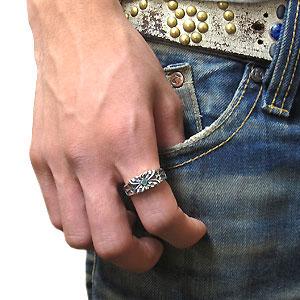 クロス エメラルド リング シルバー メンズ リング 蝶 指輪