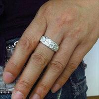 【送料無料】マリッジリング・シルバー・ダイヤモンド・リング・百合の紋章・クロス・指輪・ペアリング【_名入れ】【RCP】