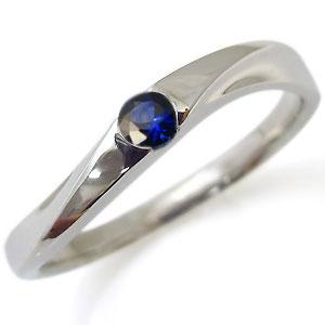 一粒・18金・指輪・サファイア・リング