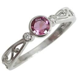 プラチナ 婚約指輪 ピンクトルマリン エンゲージリング 一粒 唐草 リング