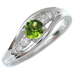 一粒 ペリドット エンゲージリング 18金 婚約指輪 8月誕生石
