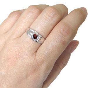婚約指輪 一粒 ガーネット エンゲージリング 1月誕生石 18金 リング
