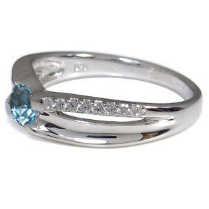プラチナ・リング・指輪・一粒・ブルートパーズ・11月誕生石