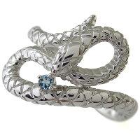 【送料無料】プラチナ・蛇・スネーク・メンズ・指輪・アクアマリンサンタマリア・リング【_包装】【RCP】【RCPfashion】