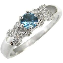 ブルートパーズ 婚約指輪 11月誕生石 18金 一粒 リング