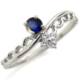 プラチナ サファイア エンゲージリング レース 婚約指輪 ピンキーリング