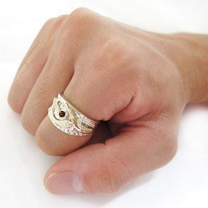 プラチナ ガーネット 指輪 スネークリング メンズ 蛇 リング