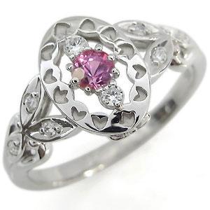 プラチナ ピンクサファイア 婚約指輪 アンティーク