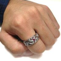 【送料無料】ルビー・リング・トライバル・リング・メンズ・K10・指輪【_包装】【RCP】10P01Nov14